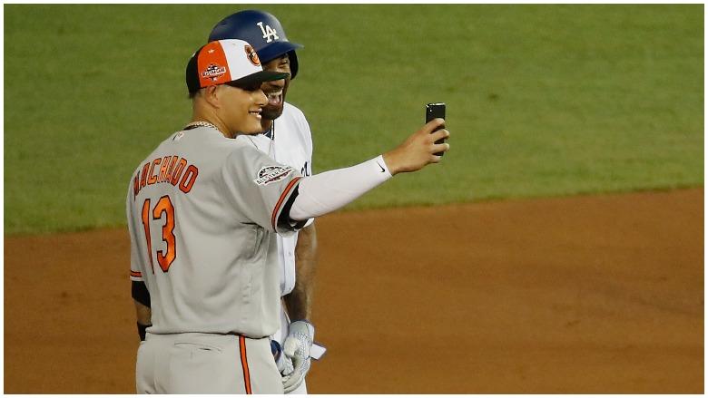 Manny Machado poses with Matt Kemp