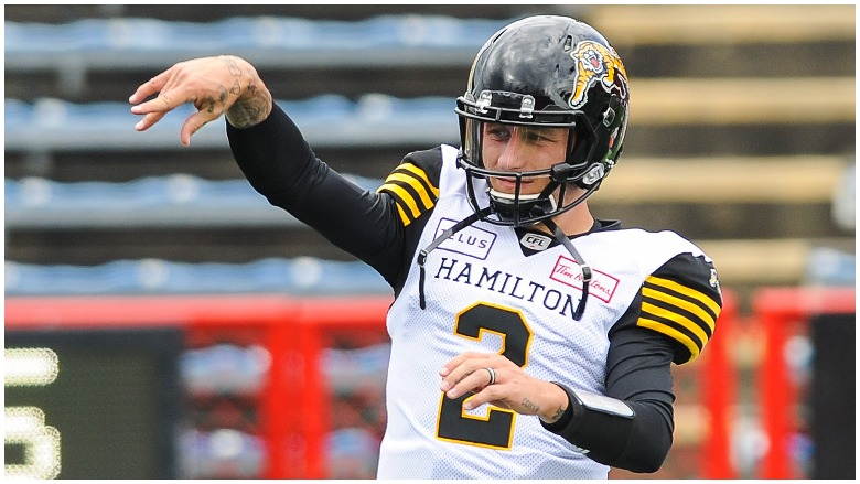 Johnny Manziel warms up for the Hamilton Tiger-Cats