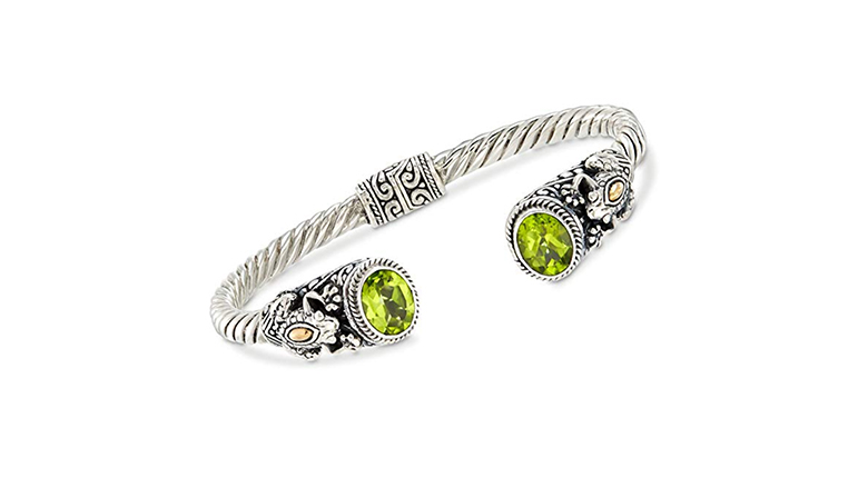 ross-simons bali style sterling silver bangle bracelet with peridot ends