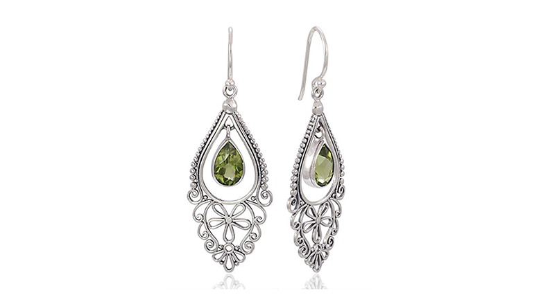 sterling silver bali filigree peridot chandelier earrings