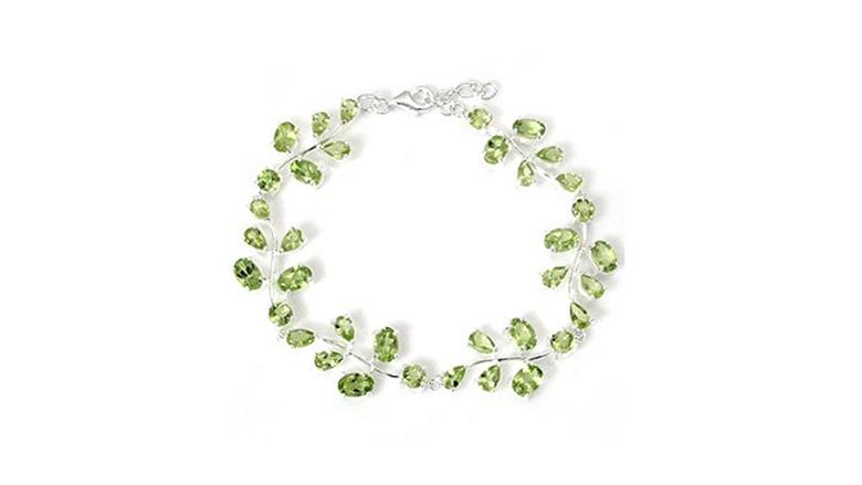 sterling silver leaf design peridot bracelet