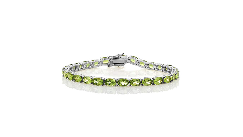 Sterling silver and oval peridot tennis bracelet