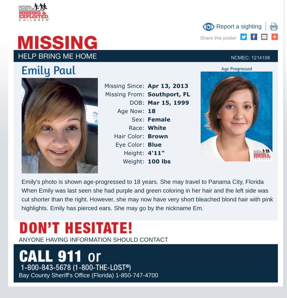 Emily Paul missing poster florida