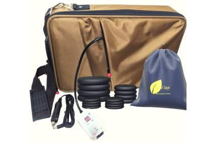 Tan heating bag with black stones