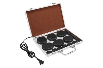 Silver briefcase of black massage stones