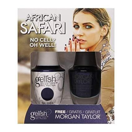 Dark blue nail polish and gel polish bottles
