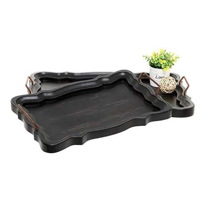 black and brown european wood serving trays