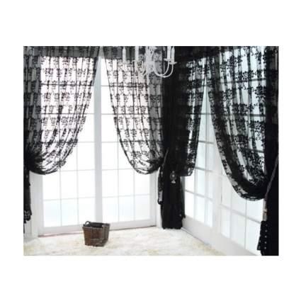 black lace damask curtains