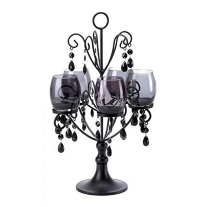 black jeweled tabletop candelabra