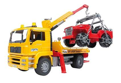 bruder man tga tow truck with cross country