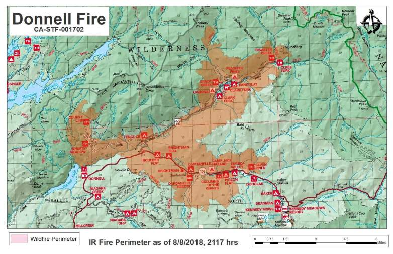 Donnell Fire Map