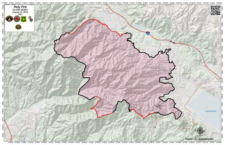 Holy Fire Map August 15