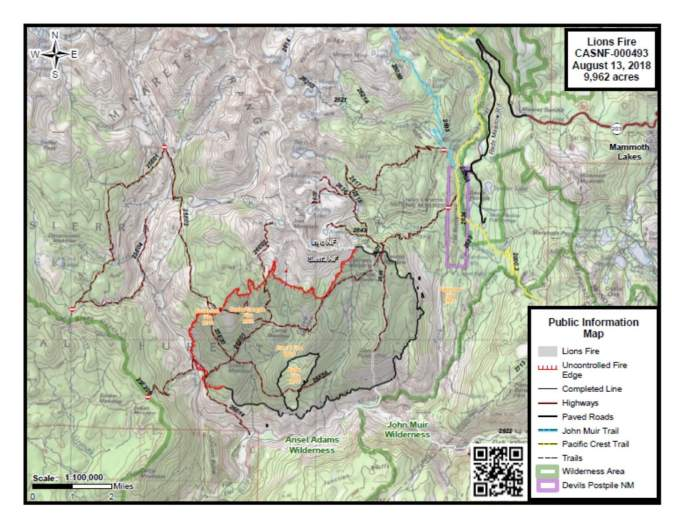 Lions Fire Map August 14