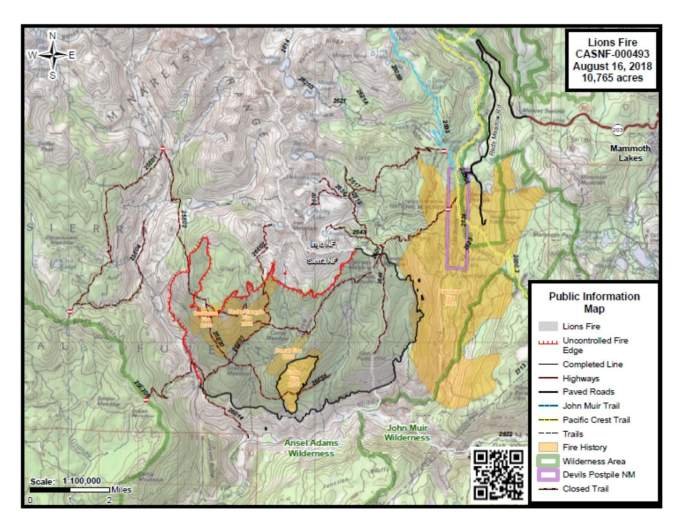 Lions Fire Map August 16