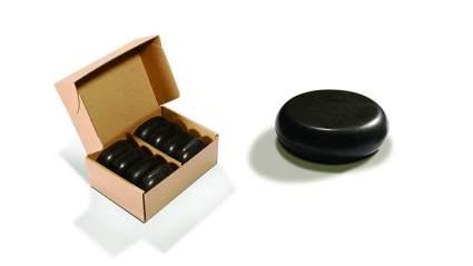 Box of black basalt stones