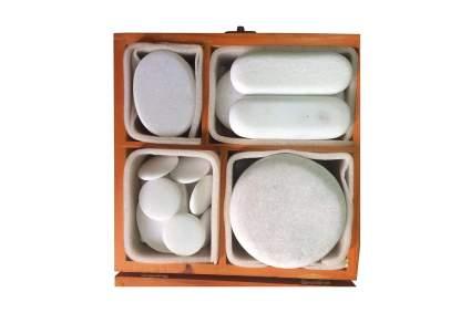 Box of white marble stones