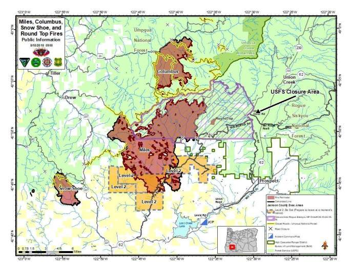 Miles Columbus Round Top and Snow Shoe Fire Map