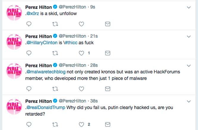 Perez Hilton Twitter hacked