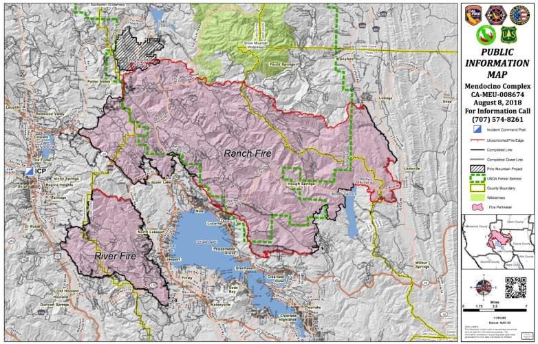 Mendocino Complex Fire Map
