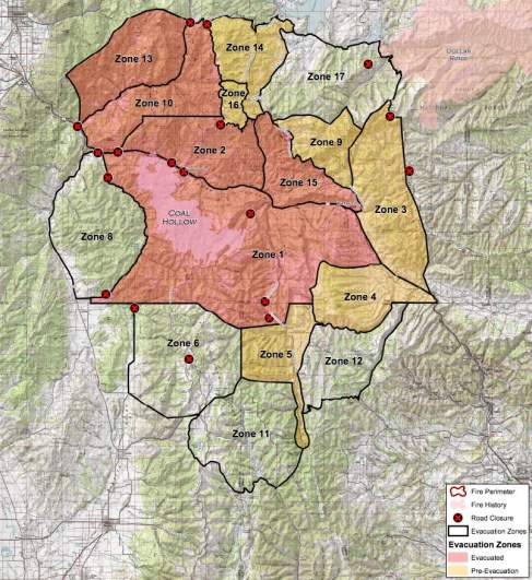 Coal Hollow Fire Evacuation Zones