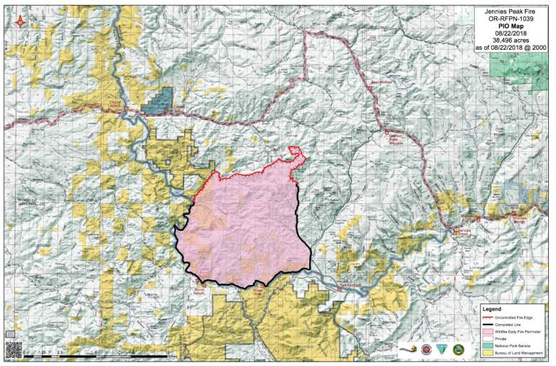 Jennie's Peak Fire Map