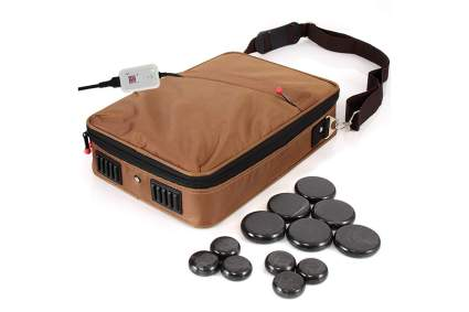 Hot stones for massage with portable bag