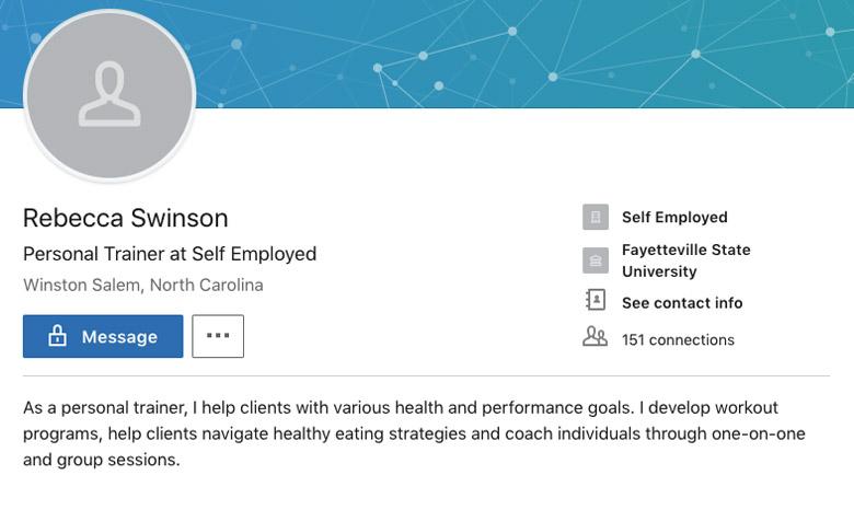 Rebecca Swinson LinkedIn page