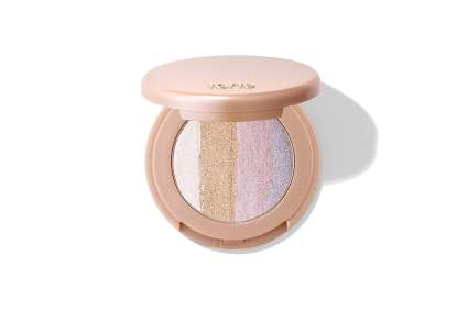 makeup compact with rainbow color striped light powder