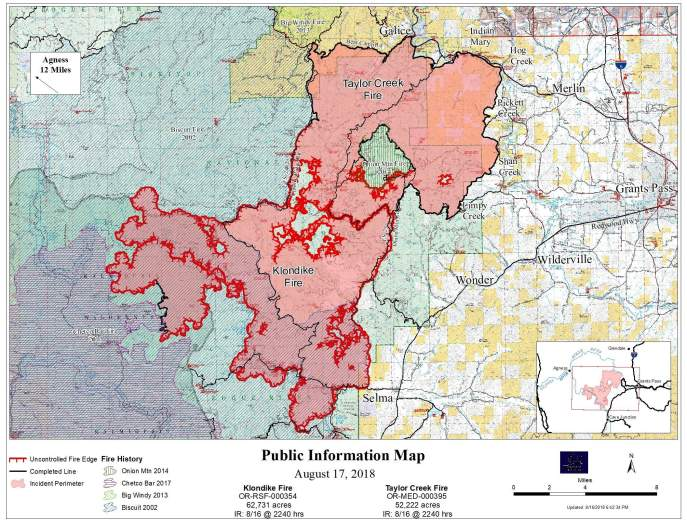 Taylor Creek and Klondike Fire Map August 17