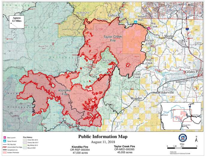 Taylor Creek Fire Map August 11