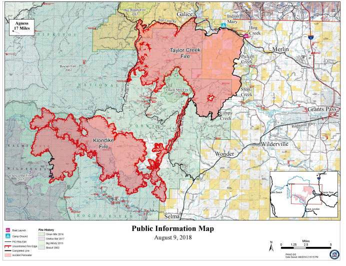 Taylor Creek Fire Map August 9