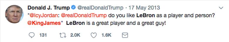 Donald Trump LeBron James Tweet