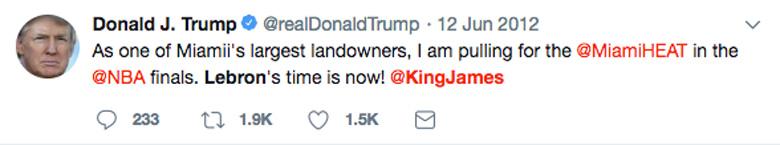 Trump Lebron tweet