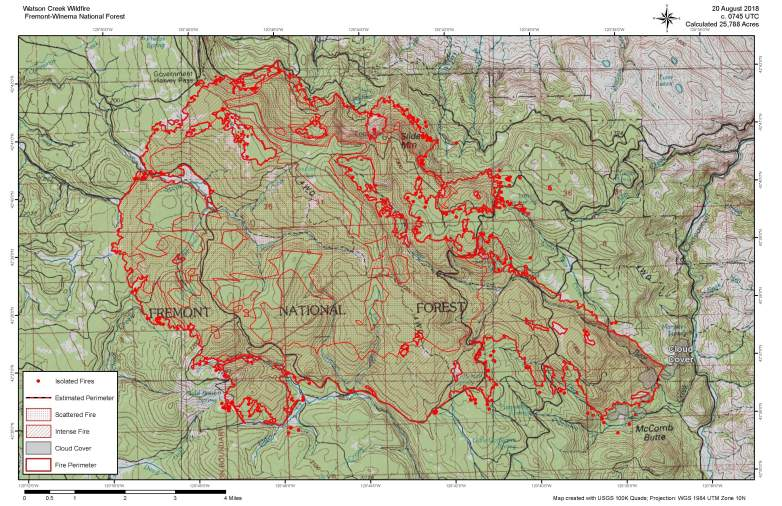 Watson Creek Fire Map August 20
