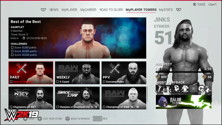 WWE 2K19 Towers
