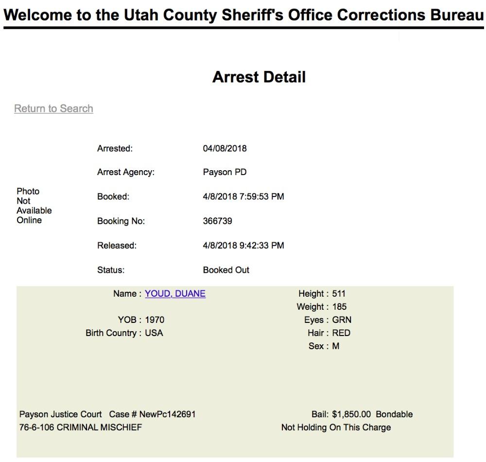 Duane Youd arrest detail