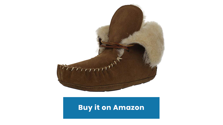 brown sheepskin moccasin bootie slippers