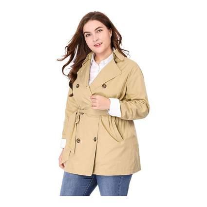 khaki plus size short belted trench coat