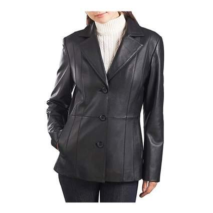 black plus size lambskin leather blazer