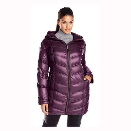 purple plus size packable down jacket