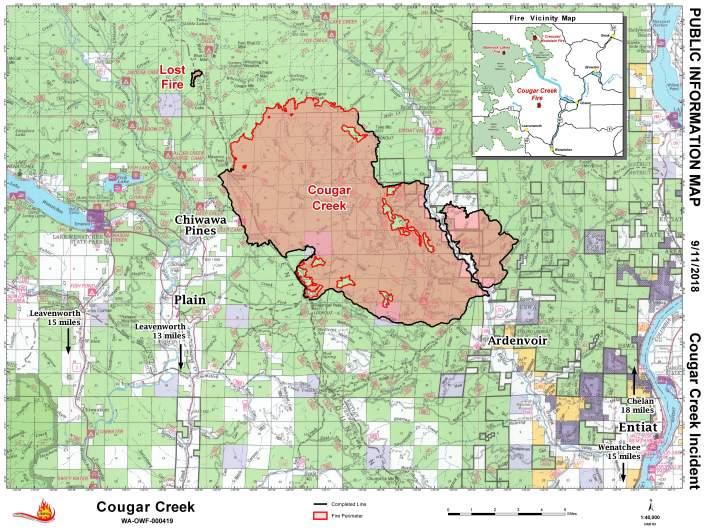 Cougar Creek Fire Map last updated September 11