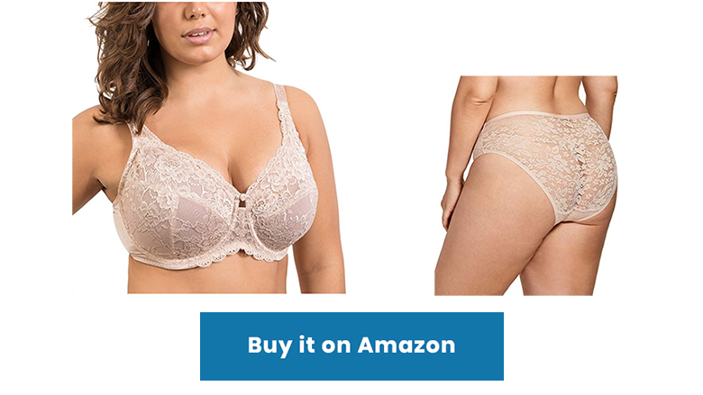 Nude lace minimizer bra and panty set