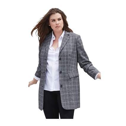 plaid plus size wool blend long blazer