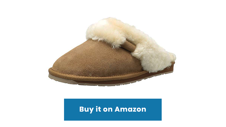 tan sheepskin leather shearling slide slipper