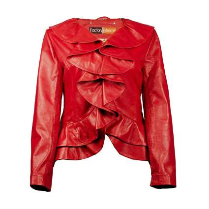 red ruffle front plus size leather jacket