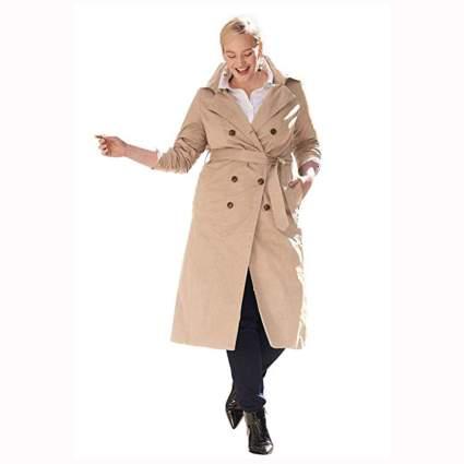 khaki plus size double breasted trench coat