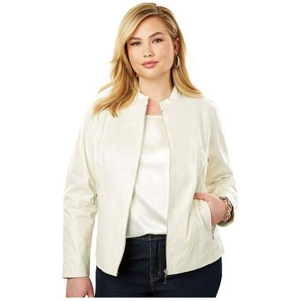 Cream zip front plus size leather jacket
