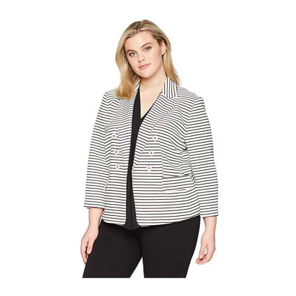 striped faux double breasted crop jacket