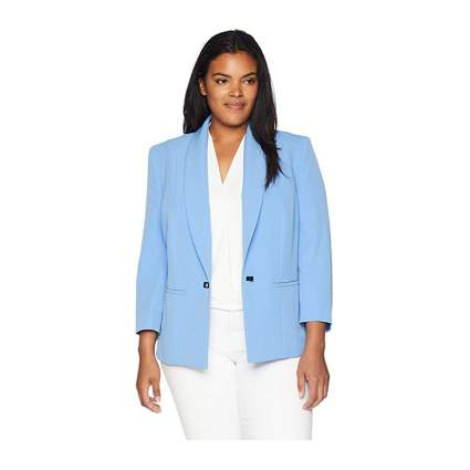 pale blue plus size crepe blazer