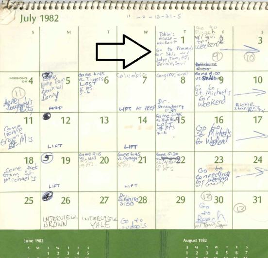 brett kavanaugh calendar